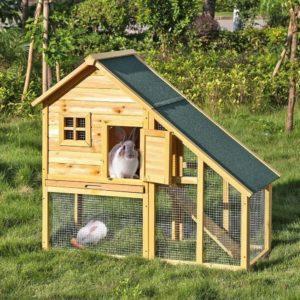 Jaula para conejos casita de madera